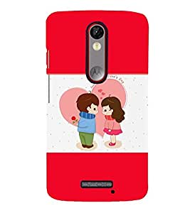Fuson Premium Happy Valentines Day Printed Hard Plastic Back Case Cover for Motorola Moto X Force