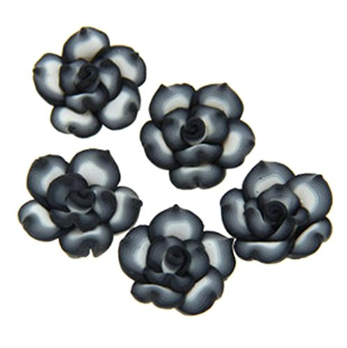HlDIY 30Pcs Black Edge White Rose Flower Fimo Polymer Clay Spacer Beads 25Mm