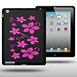 IPAD 3 FLOWER DESIGN LASER ENGRAVED SILICONE SKIN CASE BY CELLAPOD CASES PINK ON BLACK BACKGROUNDby CELLAPOD
