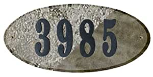 Qualarc ROC-4701QZ-PN Rockport Oval Address Plaque in Quartzite Stone Color with 4-Inch Polymer Numbers