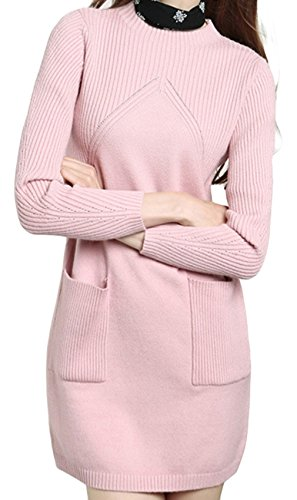 la-vogue-sweater-longue-uni-femme-col-rond-poche-pull-tricot-rose