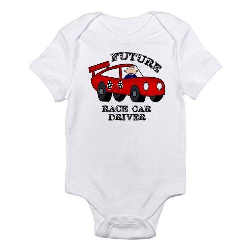 Cafepress Future Race Car Driver Cute Baby Boy Bodysuit Infant Bodysuit - 0-3M Cloud White