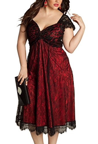 ZKESS Women's Lace Cocktail Dress Plus Size Casual A-line Dress XX-Large Size Style-2 Red