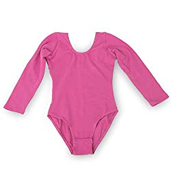 Imported Girls Kids Gym Leotards Ballet Dance Leotard Stretchy Cotton Long Sleeve for Age 9-10 Deep Pink