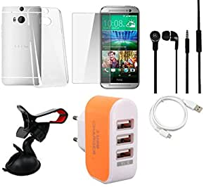 NIROSHA Tempered Glass Screen Guard Cover Case Headphone USB Cable Mobile Holder Charger for HTC Desire M8 - Combo