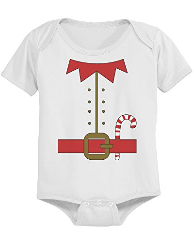 Cute Elf Outfit Pre-shrunk Cotton Snap-on Style Baby Onesie in White