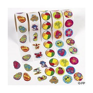 500 (5 Rolls) TROPICAL Stickers/HIBISCUS/FLIP FLOP/BEACH BALL/SEA CREATURES/LUAU PARTY Theme/FAVORS/DECOR