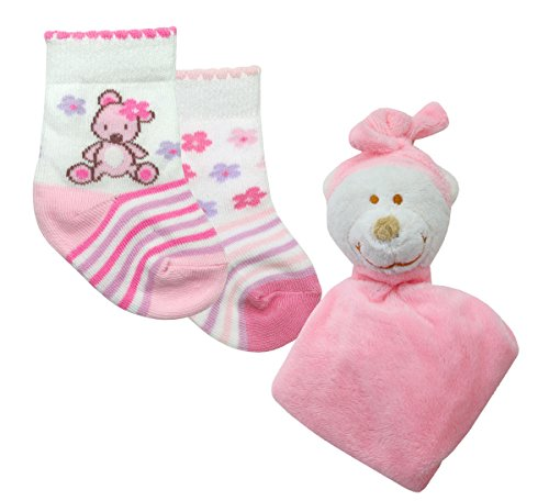 2Cozee Baby/Toddler Boys/Girls Socks & Night Time Bear Teddy, Pink 0-6 Months front-27795