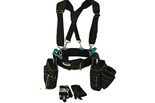 Contractor Pro Professional Electrician's Complete Package Plus+ (Tool Belt, Bucket Tote, Suspenders, and Gloves) 3XL 50-55 Inch Waist for Electricians, HVAC, Carpenters, Drywallers (Hvac Tool Belt compare prices)