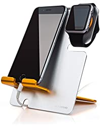 LXORY XStand (Silver-Orange) Apple Watch Stand and iPhone Dock 2 in 1 Duo Charging Station for All Phone and iWatch Models (38mm 42mm) - Hidden Cable Aluminum Charger Holder Cradle, Best For Travel