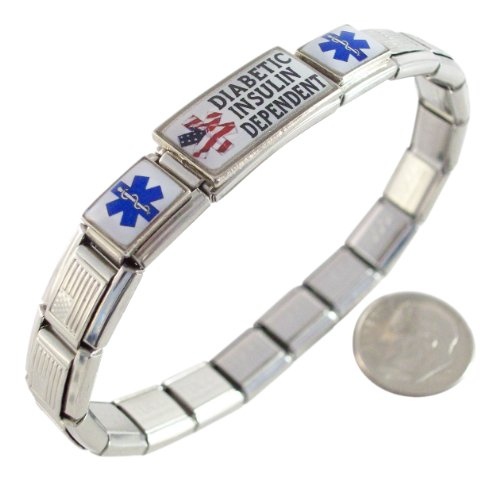 Diabetic Insulin Dependent Italian Charm Bracelet US Flag (Italian Dependent compare prices)