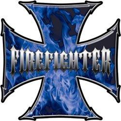 Maltese Cross Firefighter Decal - Inferno Blue - 2