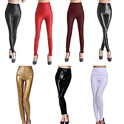 SEXY Womens Girls Faux Leather High Waisted Leggings