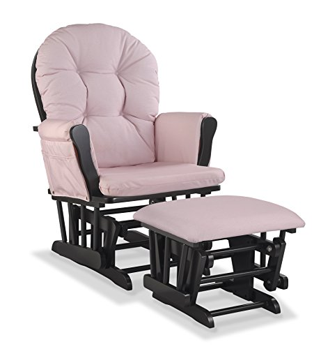 Stork Craft Custom Hoop Glider and Ottoman, Black/Pink Blush Swirl