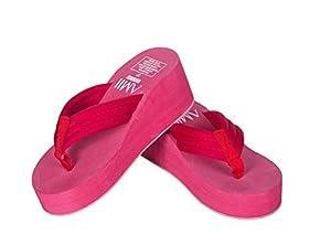 MonicKruh Shoes Womens Wedge High Heels Beach Rose Red Popular Flip Flop Wisp Sandals