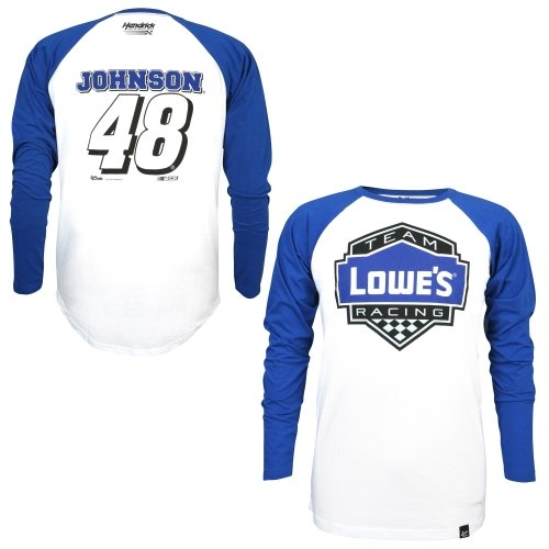 Chase Authentics Jimmie Johnson Varsity Raglan Long Sleeve Jersey T-Shirt - White...