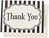 Bella Cupcake Couture Thank You Cards, Black and White Stripes