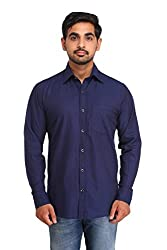 Snoby blue plain cotton shirt SBY8072