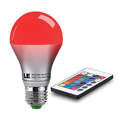 LE 5W Dimmable A19 RGB LED Bulbs, Color Changing, 160° Beam Angle, 16 Color Choice, E26 Medium Screw Base, Remote Controller Included, LED Light Bulbs (Led With Remote compare prices)