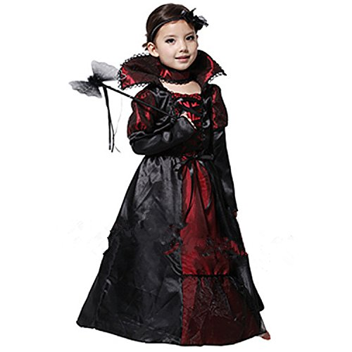 [E-Laurels Vampire Witch Zombie Queen Dress Children Halloween Costume L] (Creative Homemade Group Costumes)