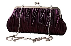(Purple) Women Vintage Satin Pleated Evening Cocktail Wedding Party Handbag Clutch Purse W/Shoulder Chain By Zakka Republic