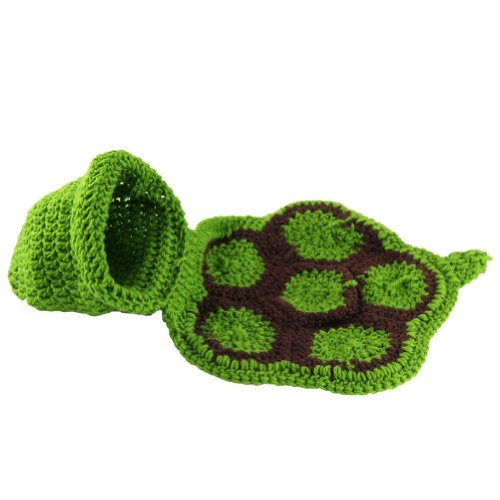 Baby Newborn Boy Girl Turtle Tortoise Crochet Cotton Knit Costume Photo 0-3 Months