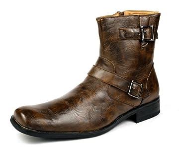 a81256f3bcf889 Bravo Men Fashion Ankle Boots Shoes Italian Style Punk Rock Square Toe (7)  Shoes