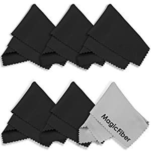 (6 Pack) MagicFiber Microfiber Cleaning Cloths - For Tablets, Lenses, and Other Delicate Surfaces (5 Black, 1 Grey)