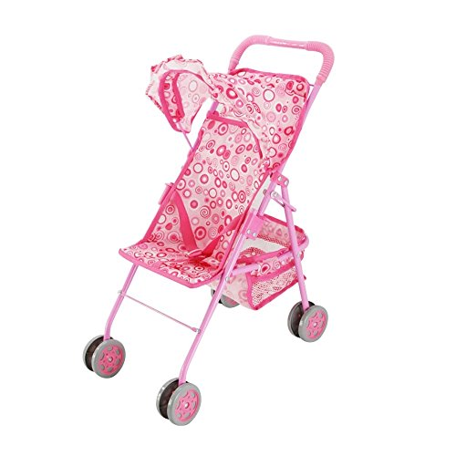 Baby-Doll-Stroller-Precious-Pink-with-Swirls-Design-with-Hood-Basket-My-First-Doll-Stroller-Fold-N-Go-The-Best-Toy-Doll-Accessory-The-Perfect-Gift-for-your-Children