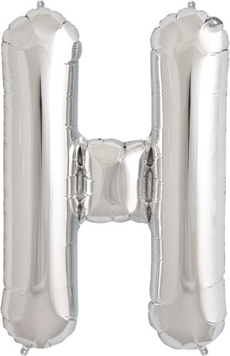 Letter H - Silver Helium Foil Balloon - 34 inch