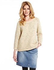 Indigo Collection Chain Stitch Jumper with Wool