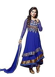 Sk Creation Blue Designer Neck Embroidered Anarkali suit