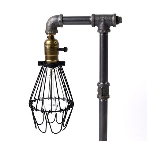 Bird Cage Designer Steampunk Water Piping Desk Top Table Lamp Real Wood Base Rustic Home Deco Steam Punk Industrial Loft Interior Design Bedside Minimalist Victorian Edison Iron Retro Lighting Lamps 2
