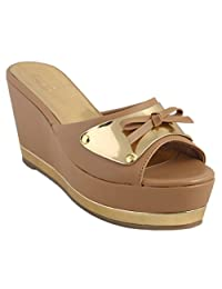 Zaera Ladies Wedges / Sandals / Mid Heel Giana Strap Wedge ZDF0140 TAN 35