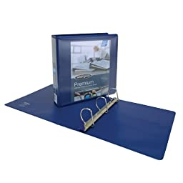 Wilson Jones Premium Single-Touch Locking D-Ring View Binder, 2 Inch, Customizable, Blue (W86622PP1)