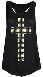 Signiture Womens Black Studded Cross Vest Top