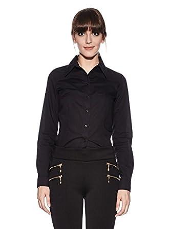 Nife Klassische Bodybluse aus Baumwolle, schwarz, Größe 42