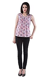 AARR Red & Green Floral Printed Sleeveless Round Neck Polycotton Top