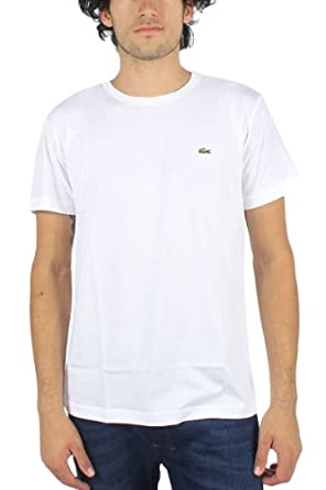 Lacoste Men's Short Sleeve Pima Jersey Crewneck T-shirt White , Size Small-TH5275