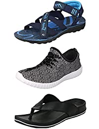 Jabra Men's & Boys Sport Shoes, Sandals & Slippers Combo Pack Of 3 (NS-4 SKY BLUE+JIO+LEATHER BLACK)