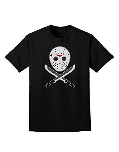 Scary Mask With Machete - Halloween Adult Dark T-Shirt