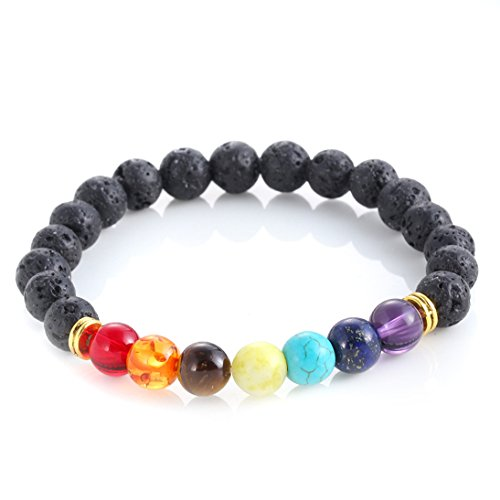 GUARD KumbhaMela 7 Color Chakra Lava Healing Balance Beads Bracelet For Reiki Prayer Yoga Volcanics Bracelet Stones