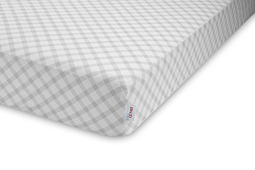 GUND Babygund Picnic Plaid Deluxe 300 Thread Count Crib Sheet, Picnic Plaid - Golly Grey, 28'' By 52''