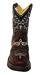 Kid\'s childrens toddler cowboy boots leather square toe rodeo boys western_11