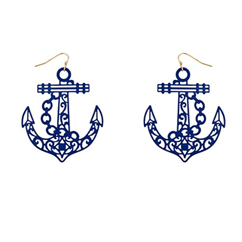 Lux Accessories Large Jumbo Intricate Anchor Sailor Drop Earrings (Retro Sailor Costume)