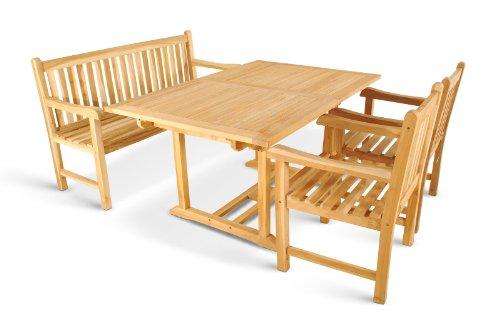 XXS-Gartengruppe-Caracas-aus-Teak-Holz-4-teilig-Garten-Tisch-mit-Schirmloch-1-x-Garten-Bank-2-x-Garten-Sessel-Terrassen-Mbel-aus-Massiv-Holz-Gartenmbel-Oberflche-geschliffen