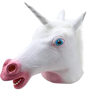 AGPtek® White Unicorn Head Latex Mask Full Face Silicone Faux Leather Cosplay Costume for halloween, party, carnival ? from AGPtek