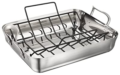 Calphalon Contemporary Stainless 16-Inch Roaster with Nonstick Roasting Rack