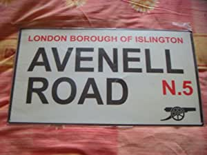 "Official ARSENAL FC large metal street sign avenell road approx 11"" x18.5"""