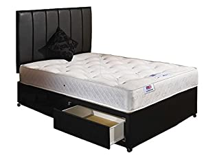 Orthomedic divan bed with mattress headboard and 2 for Small double divan beds with 2 drawers